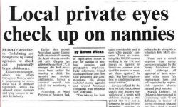 Surrey Advertiser reports on local Private Investigator checking the background of Nannies